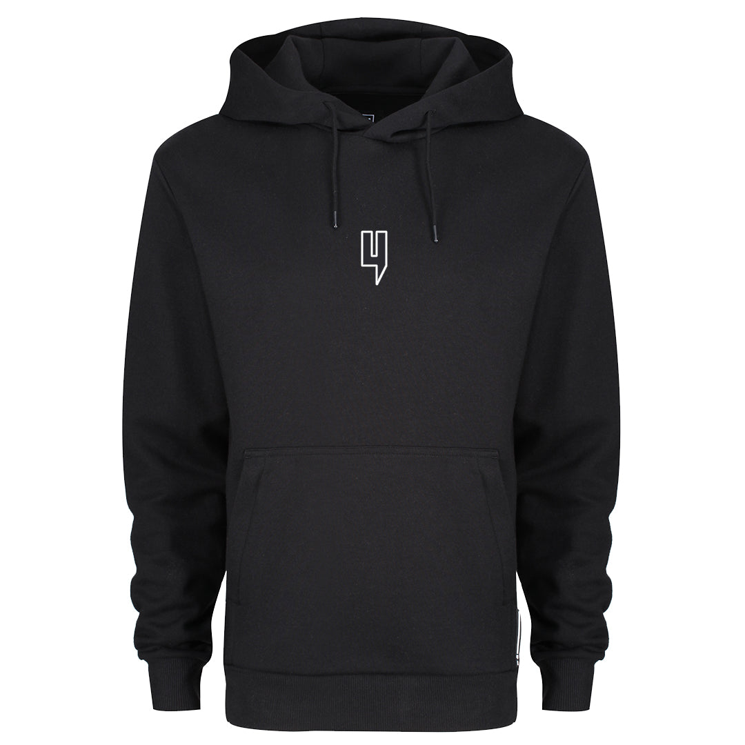 YELIR WORLD BLACK HOODY WHITE OUTLINE Y