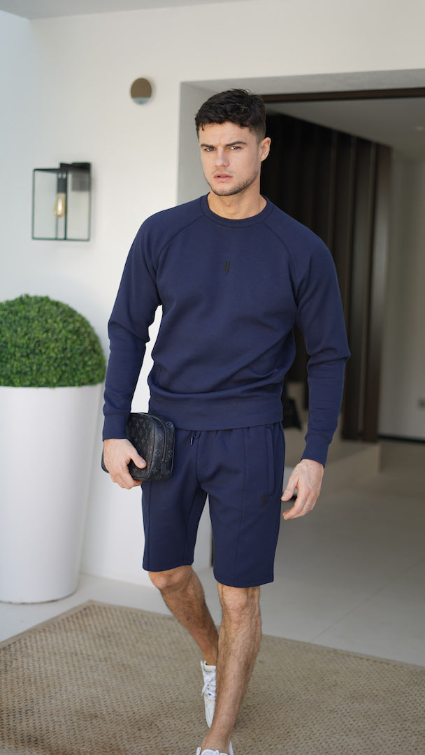 YELIR WORLD PINTUCK CREW NECK JUMPER NAVY