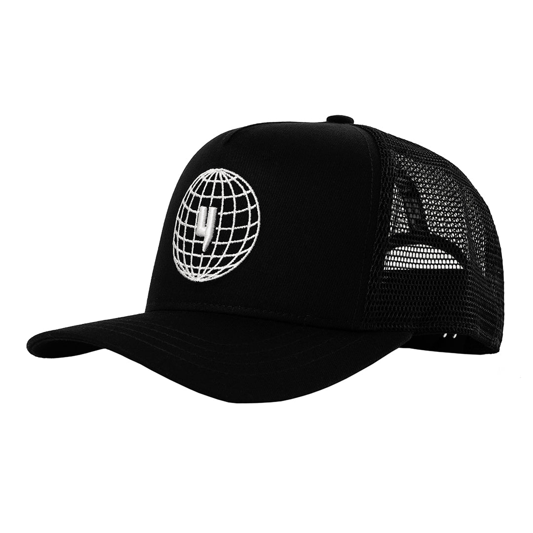 YELIR WORLD GLOBAL ENTERPRISE CAP BLACK WHITE