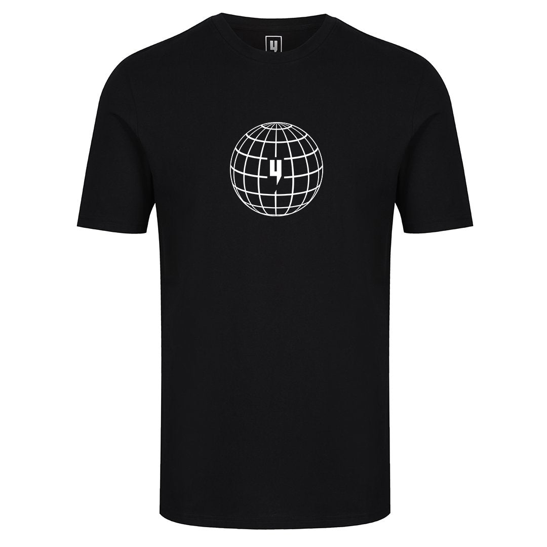 YELIR WORLD GLOBAL ENTERPRISE TEE BLACK WHITE