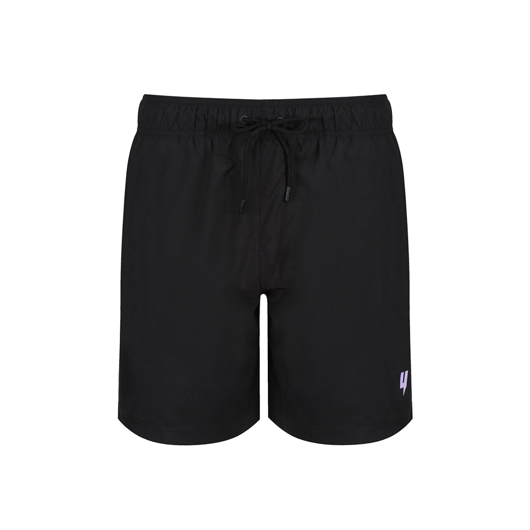YELIR WORLD Y LOGO SWIM SHORTS BLACK LILAC