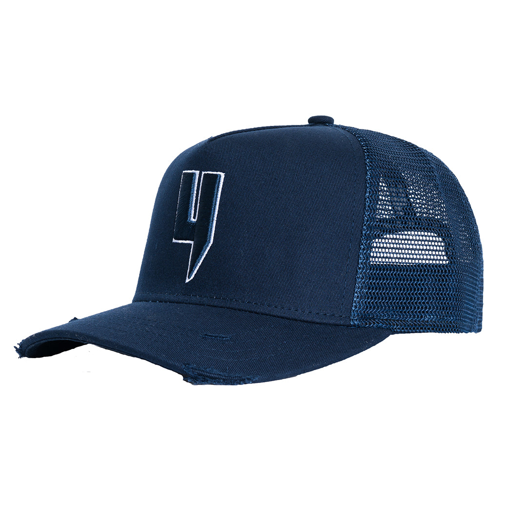 YELIR WORLD Y LOGO CAP NAVY WHITE OUTLINE