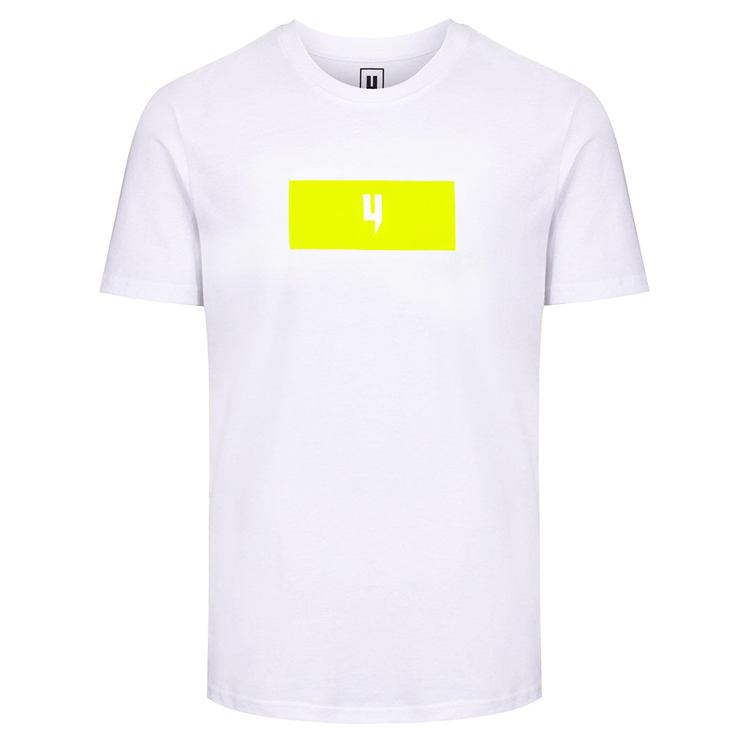 YELIR WORLD BLOCK Y LOGO TEE WHITE/NEON