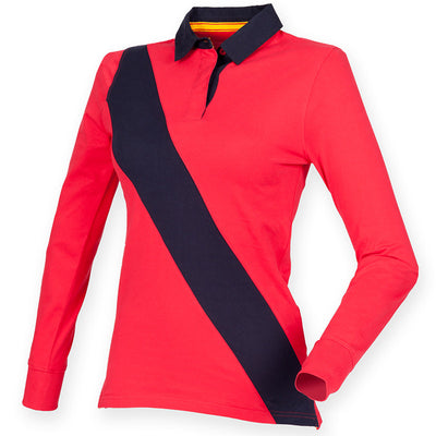 Women's diagonal stripe rugby - tag free
