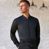 Bar shirt mandarin collar long sleeve (tailored fit)