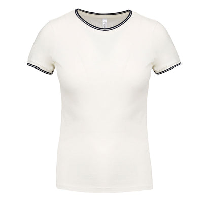 Women's piqué knit crew neck t-shirt