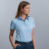 Women's short sleeve herringbone shirt