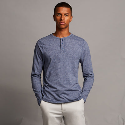 Washed long sleeve Henley T