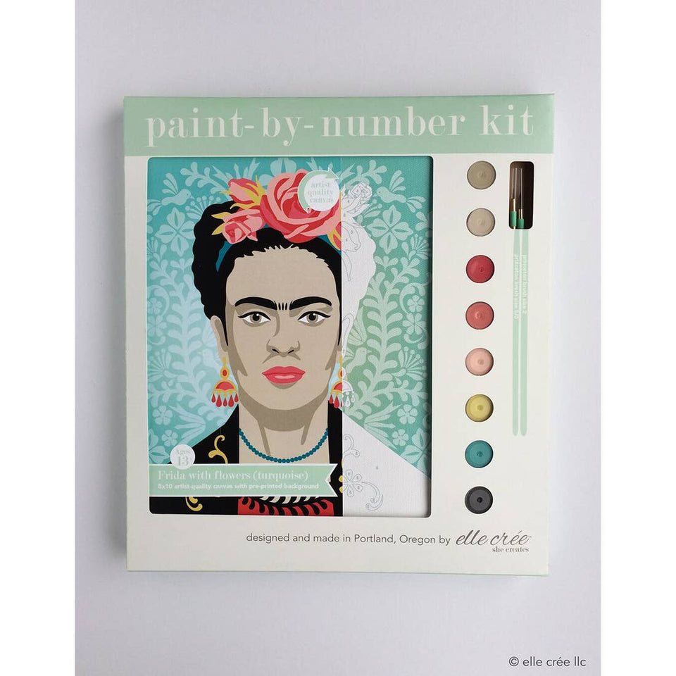Get Inspired by the Turquoise Frida with Flowers Paint-by-Number Kit