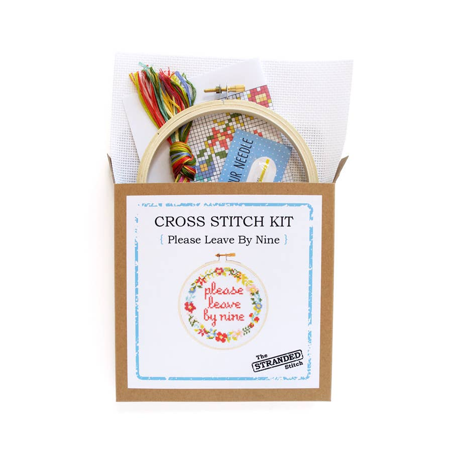 Set a Gentle Reminder with the Please Leave by Nine Cross Stitch Kit