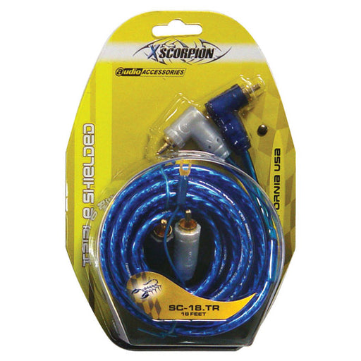 RCA CABLE 18' XSCORPION BLUE TRIPLE SHIELDED W/REMOTE WIRE