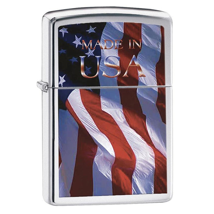 Zippo Windproof Lighter Made in USA Flag High Polish Chrome Finish - AbillionZ