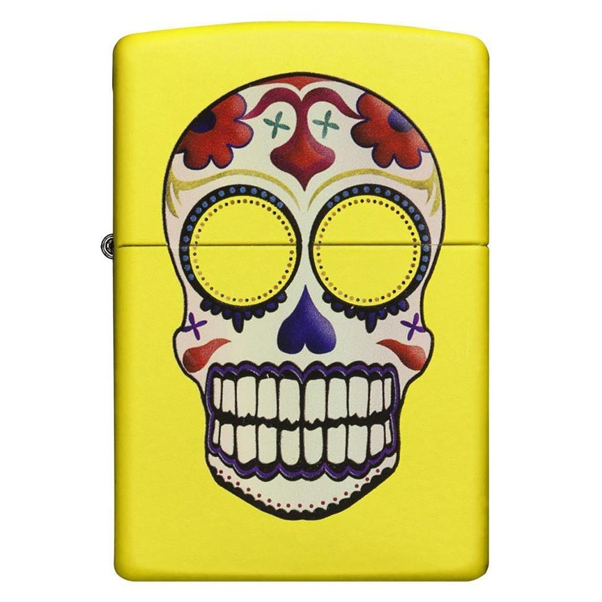 Zippo Windproof Lighter  Day of the Dead Neon Yellow Finish - AbillionZ