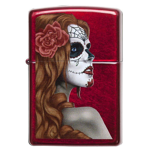 Zippo Windproof Lighter Day Of Dead Girl Candy Apple Red Translucent Finish