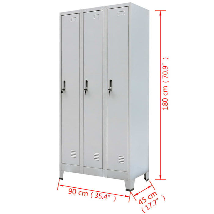 "AbillionZ Collection Locker Cabinet with 3 Compartments Steel 35.4""x17.7""x70.9"" Gray"