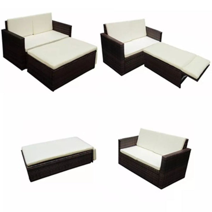 AbillionZ Collection 2 Piece Garden Lounge Set with Cushions Poly Rattan Brown - AbillionZ