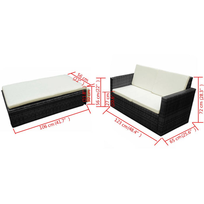AbillionZ Collection 2 Piece Garden Lounge Set with Cushions Poly Rattan Black - AbillionZ