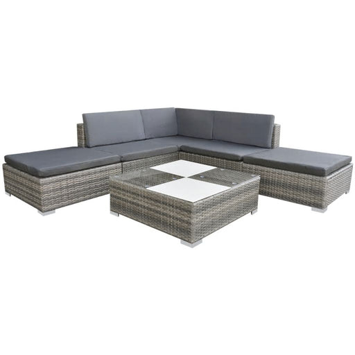 AbillionZ Collection 6 Piece Garden Lounge Set with Cushions Poly Rattan Gray - AbillionZ