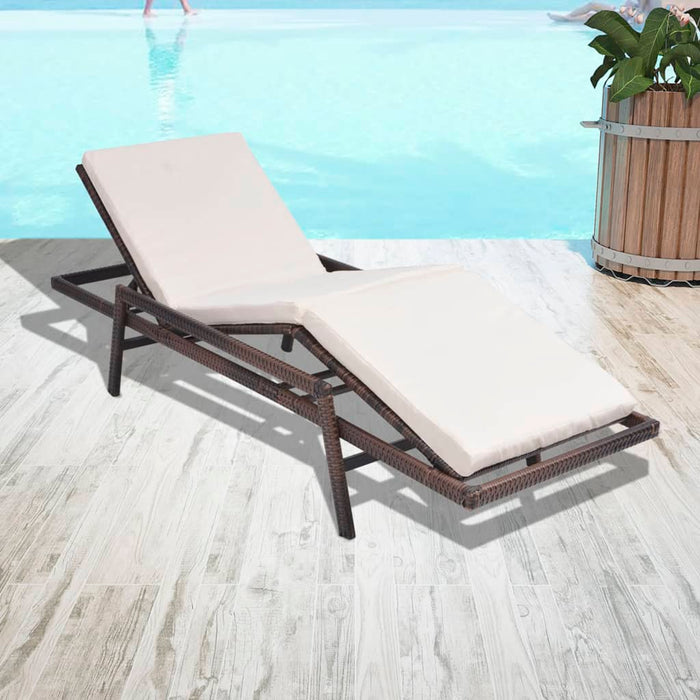AbillionZ Collection Sun Lounger with Cushion Poly Rattan Brown - AbillionZ