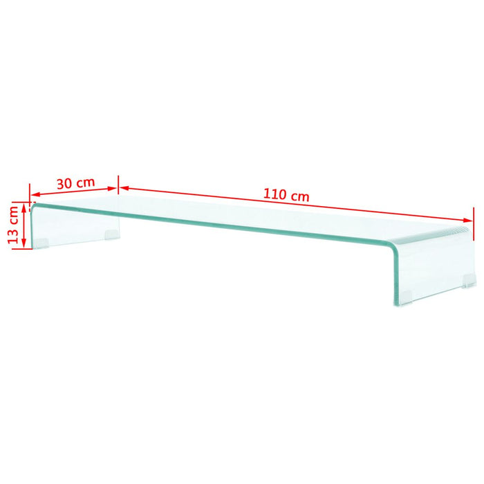 "AbillionZ Collection TV Stand / Monitor Riser Glass Clear 43.3""x11.8""x5.1"" - AbillionZ"