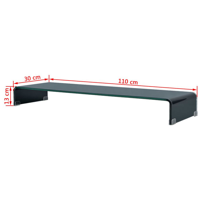 "AbillionZ Collection TV Stand / Monitor Riser Glass Black 43.3""x11.8""x5.1"" - AbillionZ"