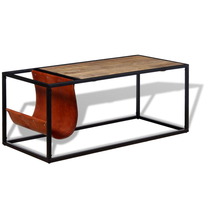 AbillionZ Collection Coffee Table with Genuine Leather Magazine Holder - AbillionZ