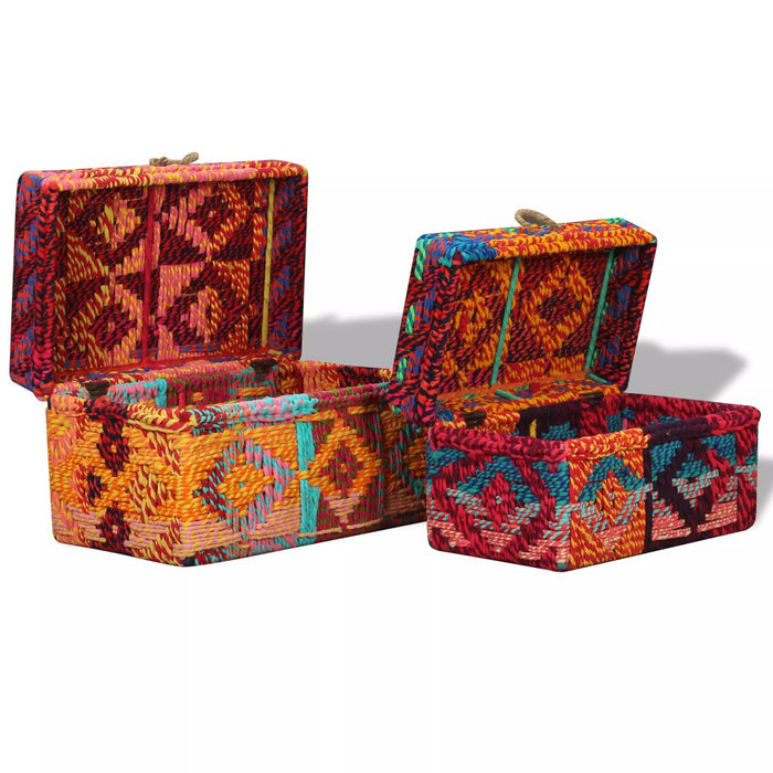 AbillionZ Collection Storage Boxes Set of 2 Chindi Fabric Multicolor - AbillionZ