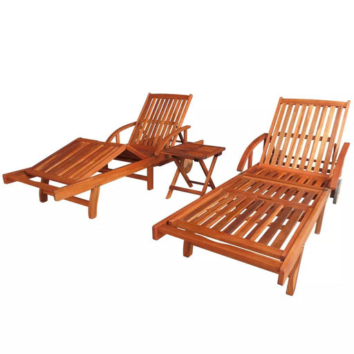 AbillionZ Collection Sun Loungers 2 pcs with Table Solid Acacia Wood - AbillionZ