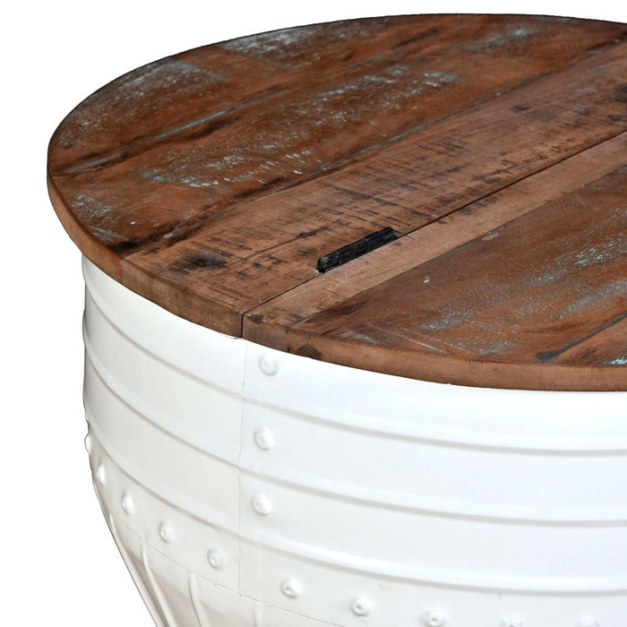 AbillionZ Collection Coffee Table Solid Reclaimed Wood White Barrel Shape - AbillionZ