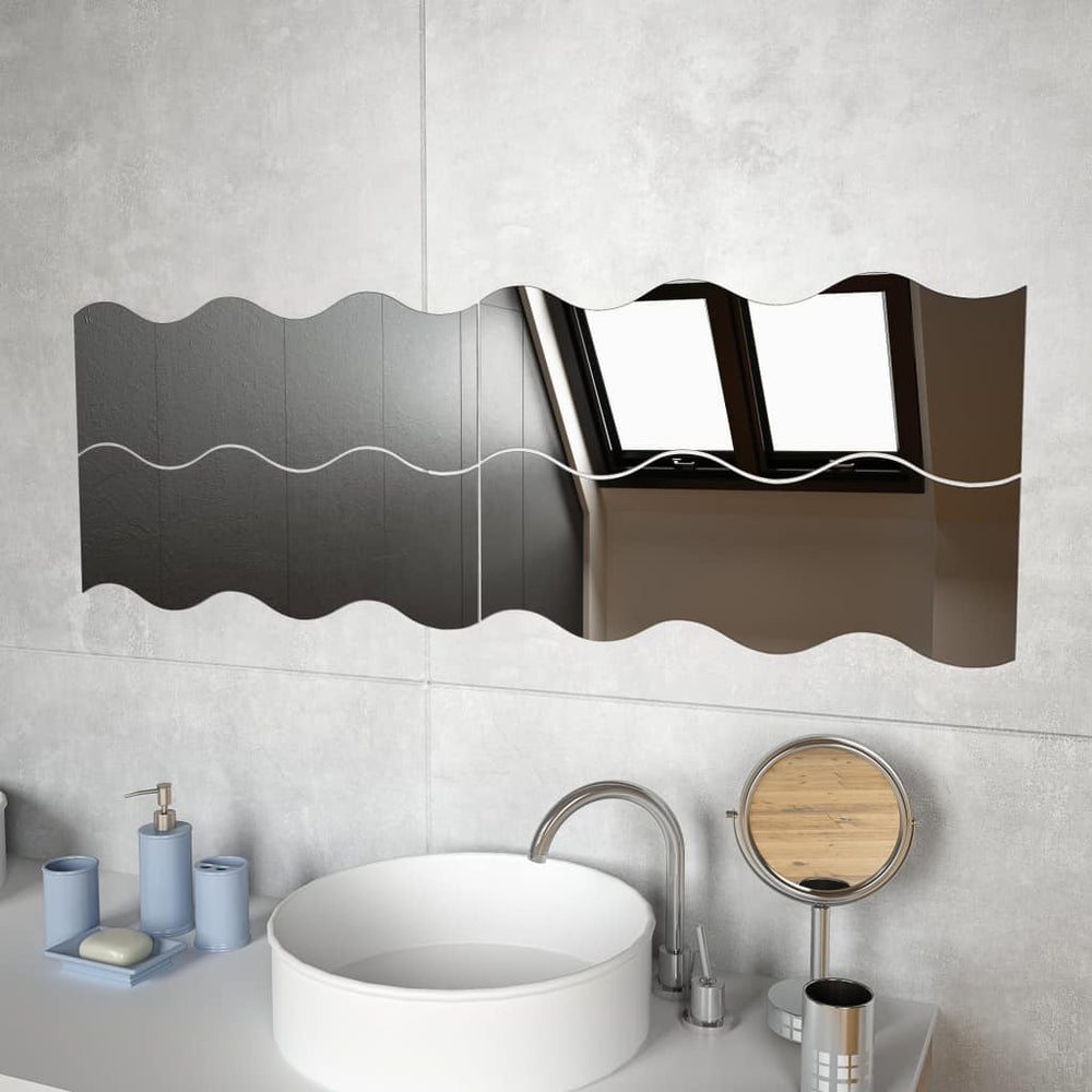 "AbillionZ Collection Wall Mirrors 4 pcs 23.6""x7.3"" cm Wave Glass"