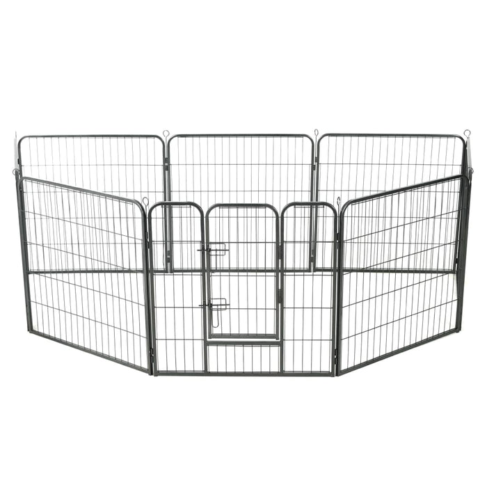 "AbillionZ Collection Dog Playpen 8 Panels Steel 31.5""x31.5"" Black - AbillionZ"