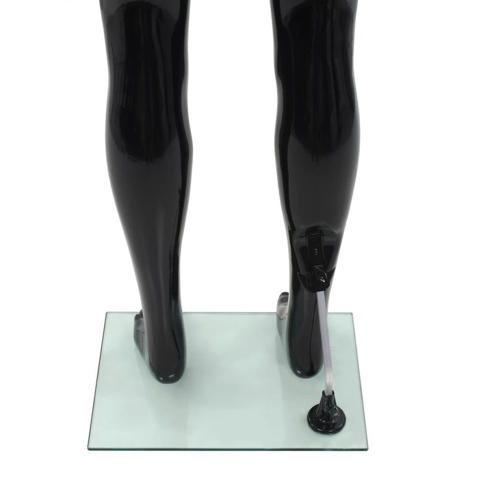 "AbillionZ Collection Full Body Male Mannequin with Glass Base Glossy Black 72.8"" - AbillionZ"