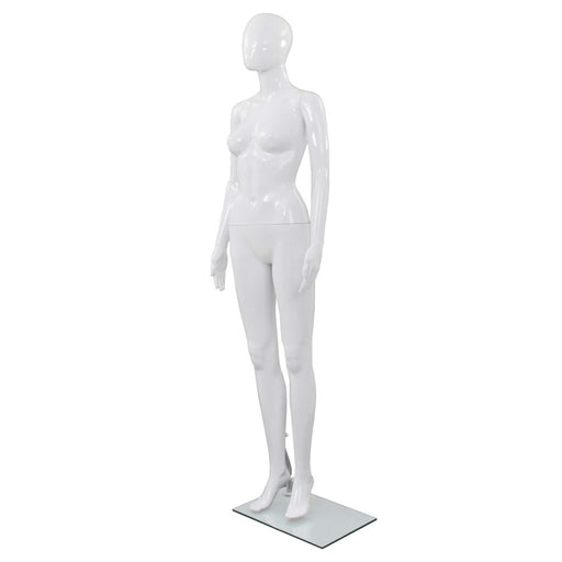 "AbillionZ Collection Full Body Female Mannequin with Glass Base Glossy White 68.9"" - AbillionZ"