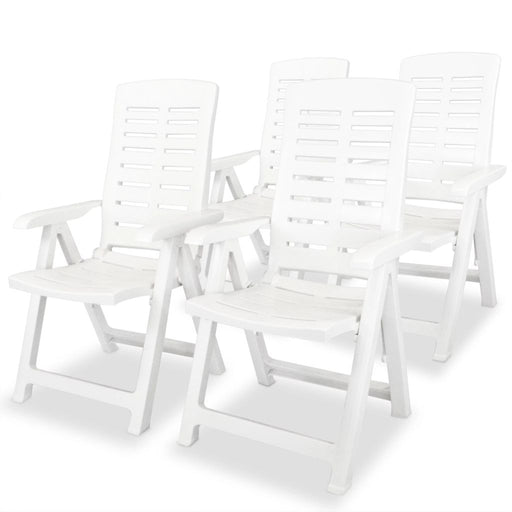 AbillionZ Collection Reclining Garden Chairs 4 pcs Plastic White - AbillionZ