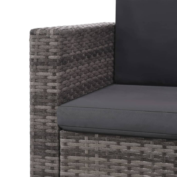 AbillionZ Collection 2 Piece Garden Lounge Set with Cushions Poly Rattan Gray - AbillionZ