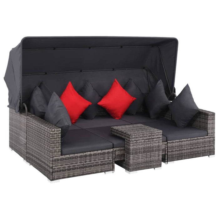 AbillionZ Collection 7 Piece Garden Lounge Set with Cushions Poly Rattan Gray - AbillionZ