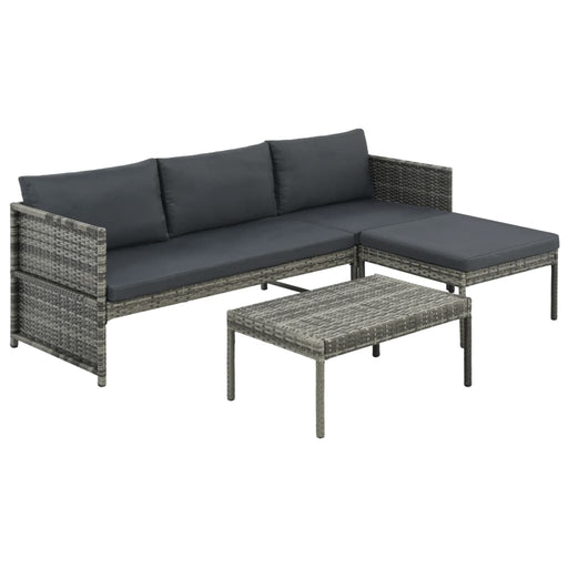 AbillionZ Collection 3 Piece Garden Lounge Set with Cushions Poly Rattan Gray