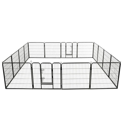 "AbillionZ Collection Dog Playpen 16 Panels Steel 31.5""x31.5"" Black - AbillionZ"