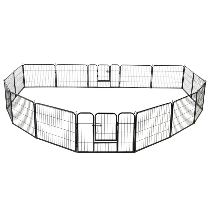 "AbillionZ Collection Dog Playpen 16 Panels Steel 31.5""x23.6"" Black - AbillionZ"