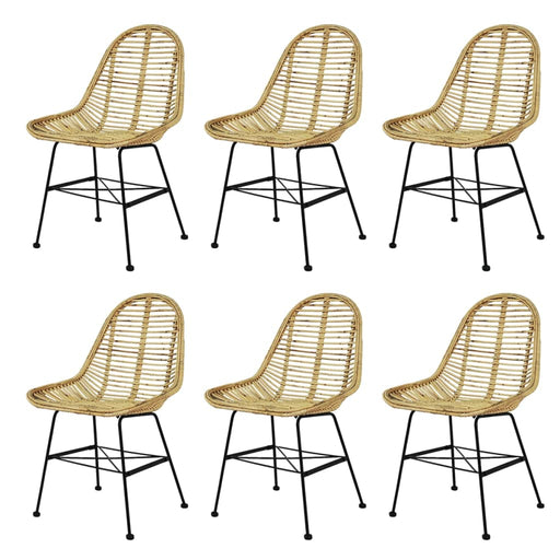 AbillionZ Collection Dining Chairs 6 pcs Natural Rattan - AbillionZ