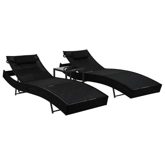 AbillionZ Collection Sun Loungers 2 pcs with Table Poly Rattan and Textilene Black - AbillionZ