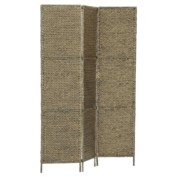 "AbillionZ Collection 3-Panel Room Divider Brown 45.7""x63""  Water Hyacinth"