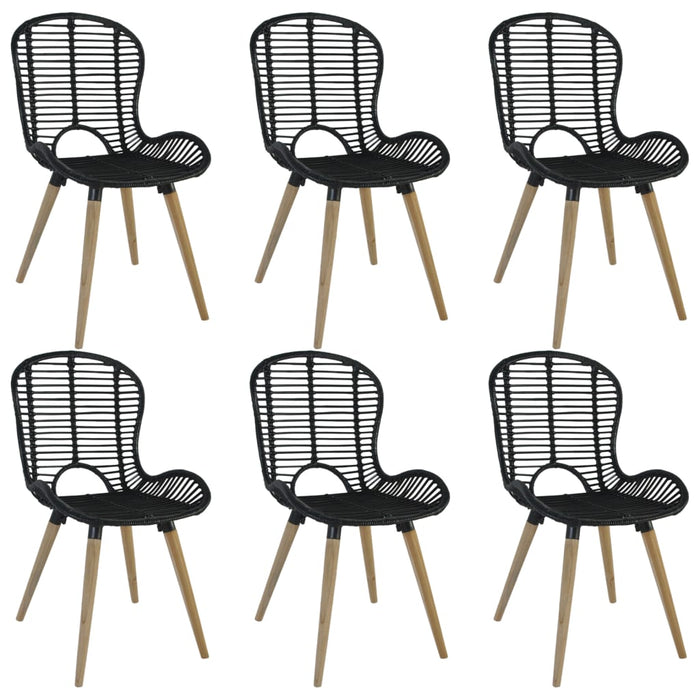 AbillionZ Collection Dining Chairs 6 pcs Black Natural Rattan