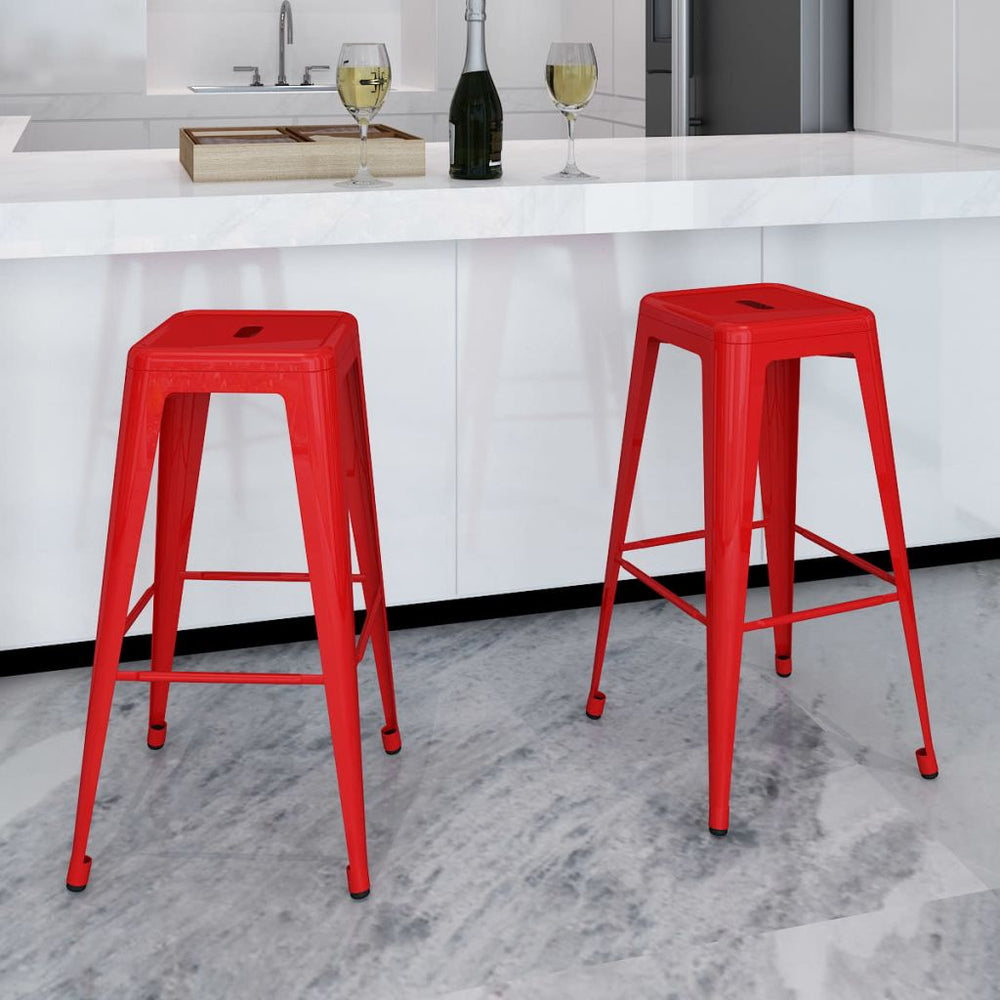 AbillionZ Collection Bar Stools 2 pcs Red Steel - AbillionZ