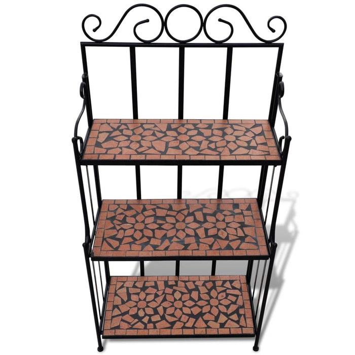 AbillionZ Collection Plant Stand Display Terracotta Color Mosaic Pattern - AbillionZ