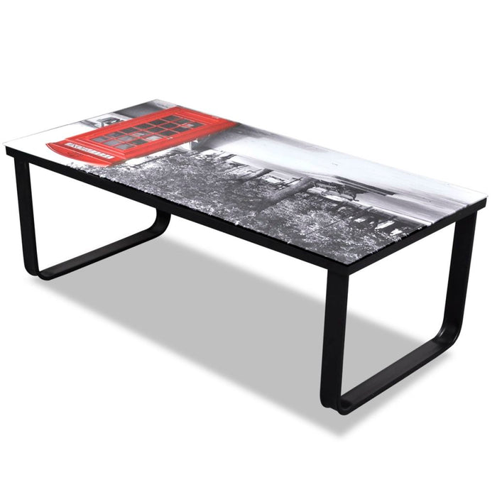 AbillionZ Collection Coffee Table with Telephone Booth Printing Glass Top - AbillionZ