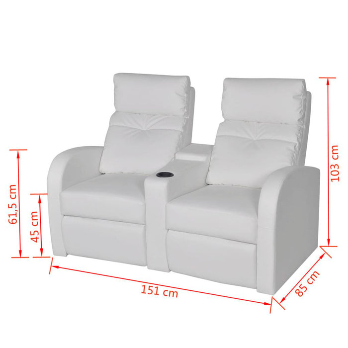 AbillionZ Collection Recliner 2-seat Artificial Leather White - AbillionZ
