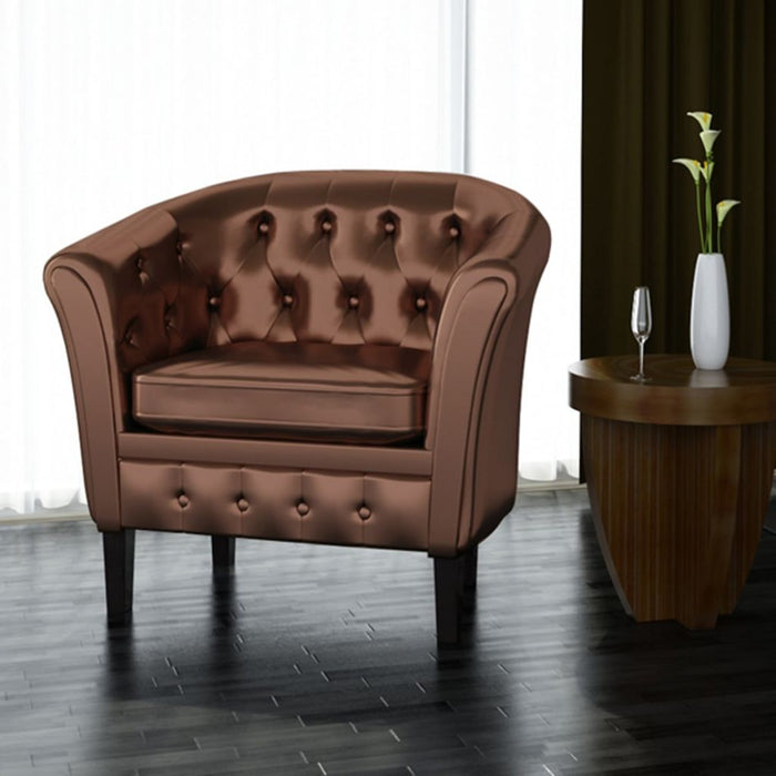 AbillionZ Collection Tub Chair Brown Faux Leather - AbillionZ