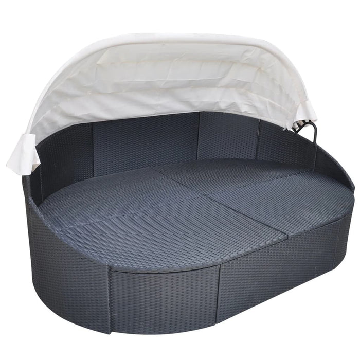 AbillionZ Collection Outdoor Lounge Bed with Canopy Poly Rattan Black - AbillionZ