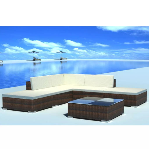 AbillionZ Collection 6 Piece Garden Lounge Set with Cushions Poly Rattan Brown - AbillionZ